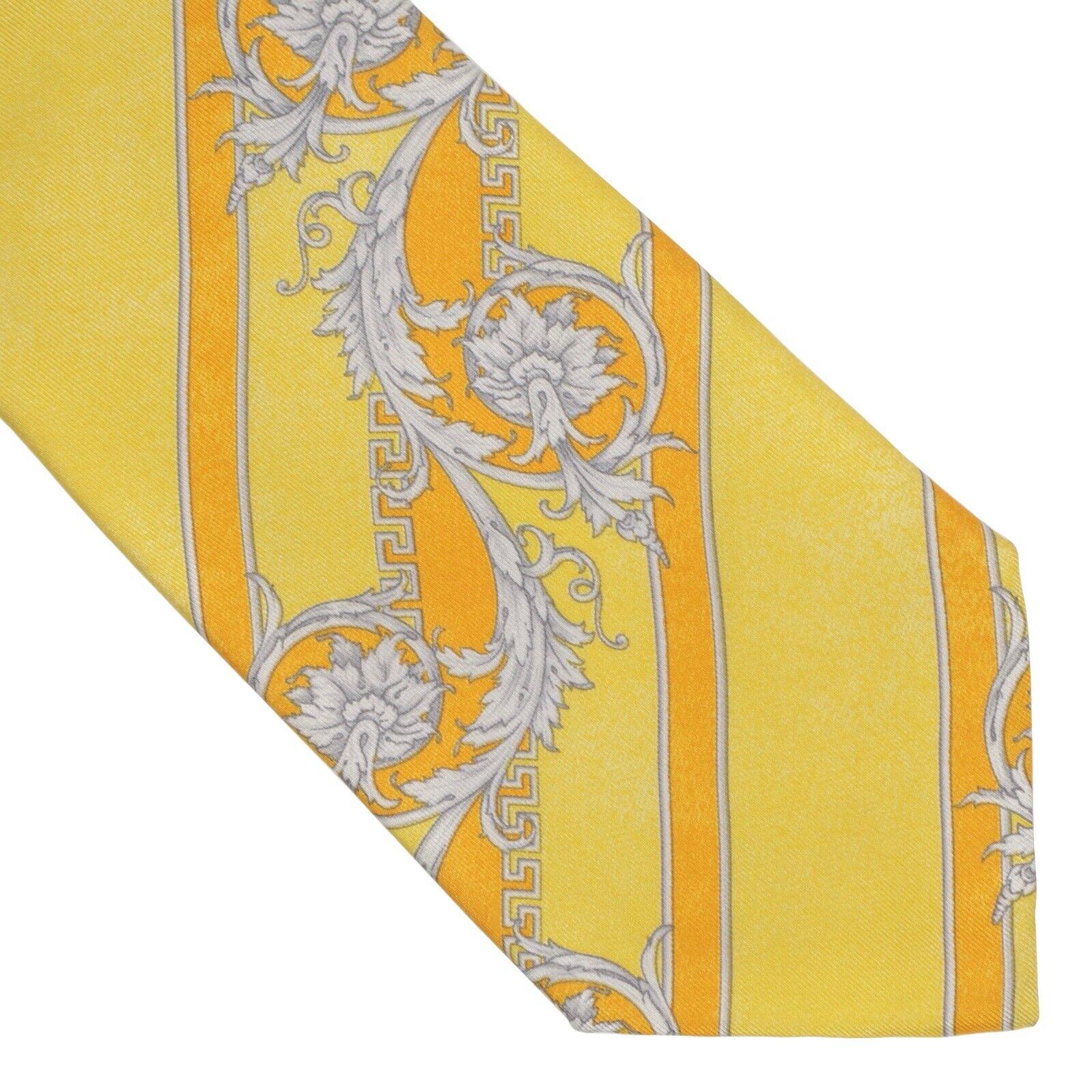 VINTAGE V2 Versace Krawatte Tie Blumen Seide Gelb Gold Streifen Floral Yellow
