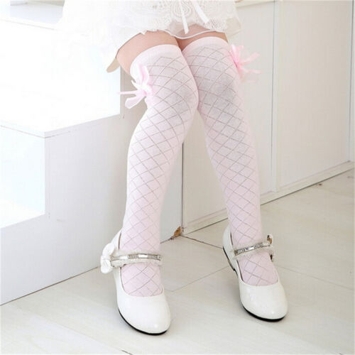 Girl Classic Kids Cotton Socks Tights School High Knee Gridding  Bow Stocking SS
