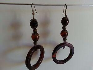Orecchini-Earrings-VETRO-GLASS-Marroni-Brown-PENDENTI-Pendant-con-buchi-Holes