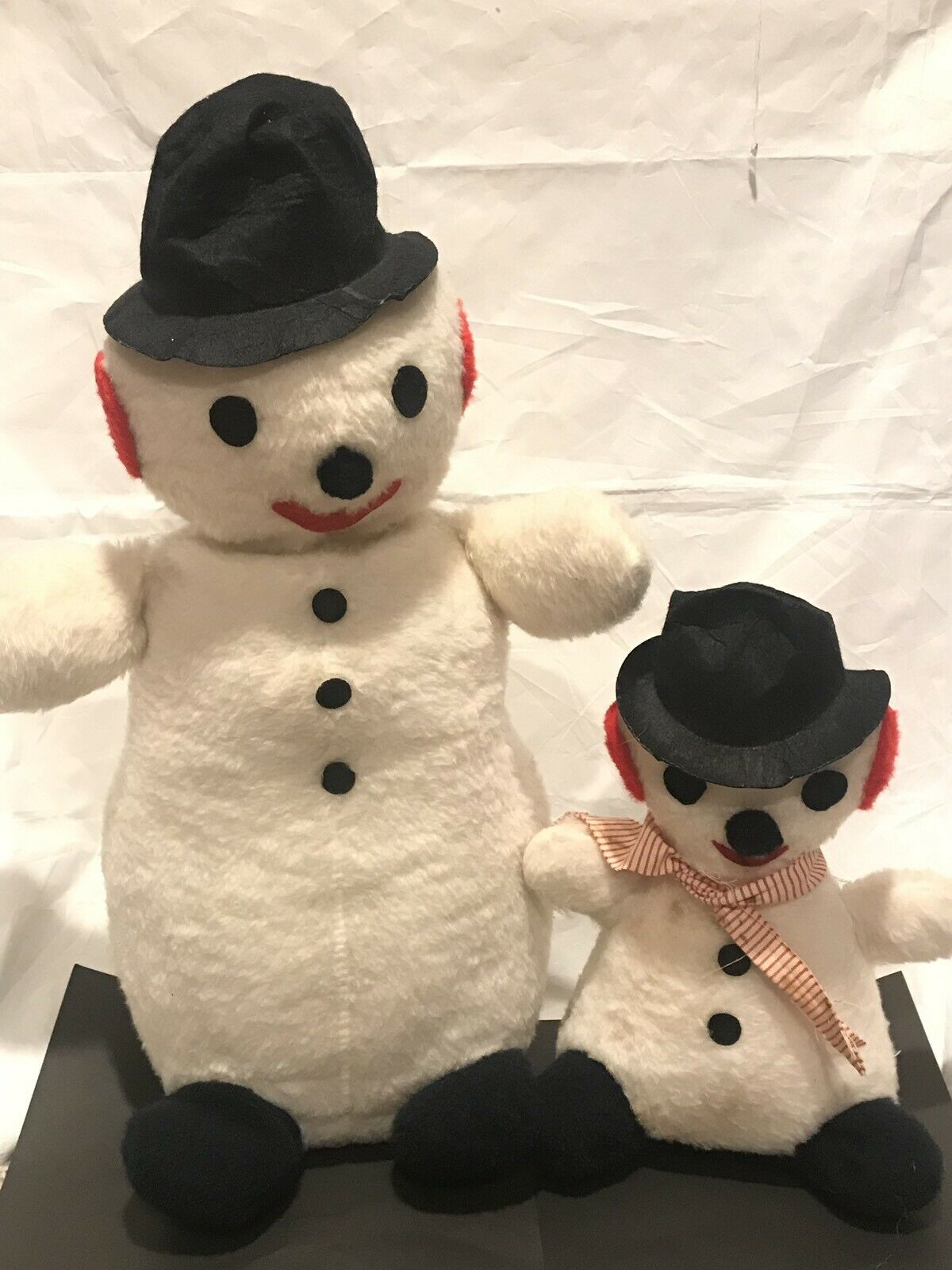 "Vtg Vtg Vtg Parisi Creations Plush Snowman Pair 24"" 14"" 05f6ac"