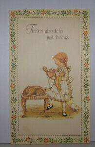 Vintage-Greeting-Card-Holly-Hobbies-Cute-Little-Girl-1975-Cat-Kitten-Sewing-7-5-034