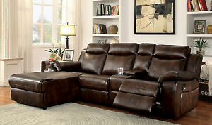 Details about Living Room Sectional Sofa Brown Leatherette Chaise Recliner  Sectionals Console