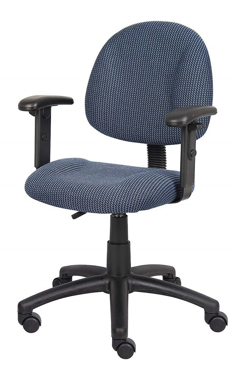Rolling Office Computer Desk Chair Adjustable With Arms Back Support Wheels Blue