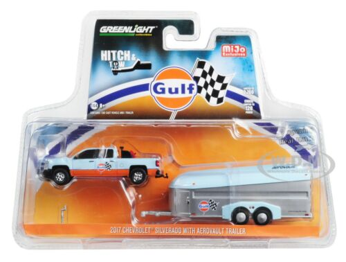 "2017 Chevrolet SILVERADO Pickup /& aerovault remorque /""Gulf/"" 1//64 GREENLIGHT 51243"