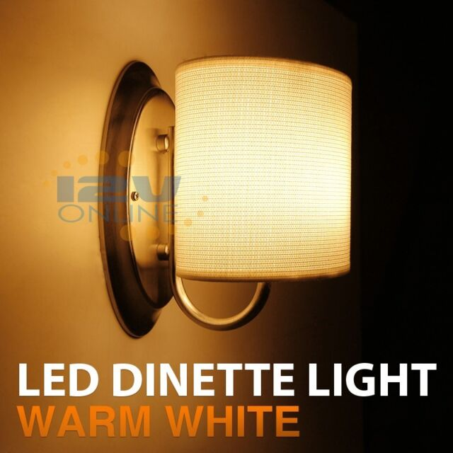 12v Led White Fabric Shade Wall Sconce Rv Auto Boat Porch Hall Interior Lighting