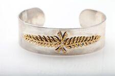 Ilias Lalaounis Signed 18k Yellow Gold Sterling Silver Diamond Bangle Bracelet