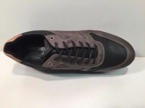 nero Trainer Fashion Shoe Leather New 8 Grey Casual Men's Premium Brand amp; Uk zt8AxH