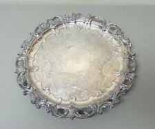 """19th C. ENGLISH OLD SHEFFIELD PLATE (OSP) SILVER PLATE 15"""" ORNATE FOOTED TRAY"""