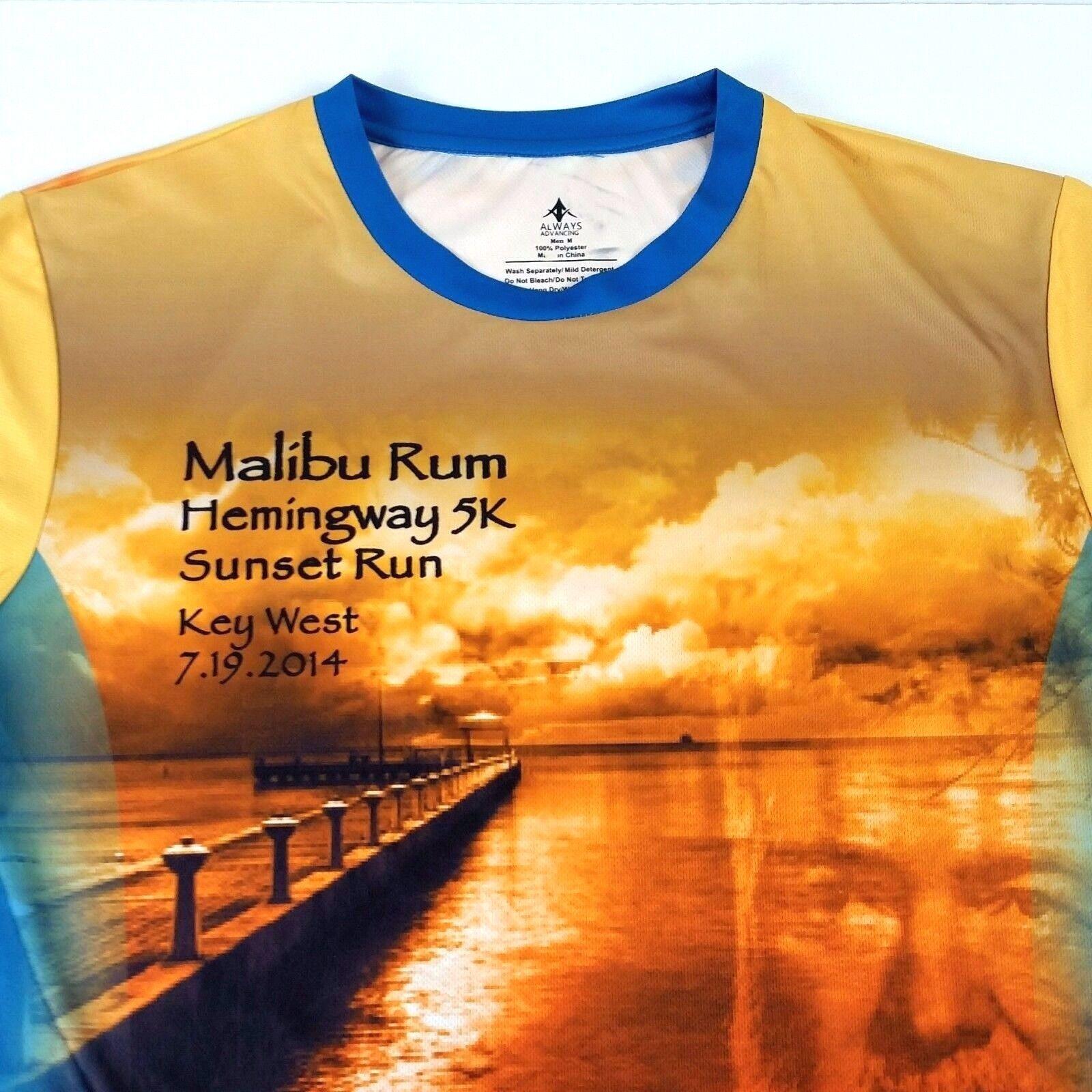 Key West Sunset Run Shirt Size M Medium Malibu Rum Hemingway 5K 2014 Gold Blue