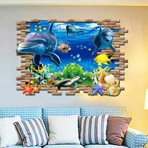 3D-Wandtattoo-Wandsticker-Kinder-Wandbilder-Aquarium-Wandaufkleber-Meeresti-T6J2