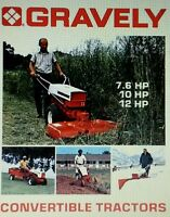 Gravely Convertible 7.6 10 & 12 Hp Lawn Garden Tractor Color Sales Manual 16pg L