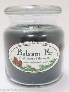 """BALSAM FIR JAR CANDLE fresh scent of the woods 4.5"""" tall 16 oz green Maine made"""