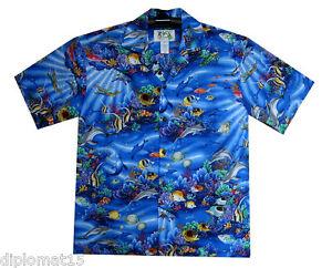 Ky`s Hawaiian rayons de enne chemise l Original bleus hawa Shirt 667fwr