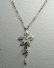 WHITE ENAMEL FLOWER PENDANT NECKLACE MATT GOLD PLATED WITH PEARL DANGLES 14 -17""