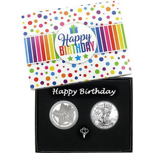 Make-a-Wish-Happy-Birthday-Silver-Round-amp-Silver-American-Eagle-2pc-Set