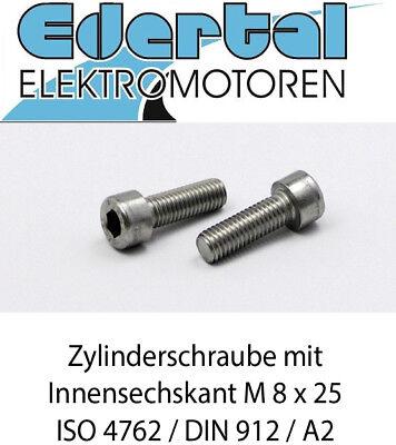 Gewindeschrauben 50 St/ück Zylinderschrauben mit Innensechskant M8 x 20 mm - Zylinderkopf Schrauben ISO 4762 DIN 912 Edelstahl A2 V2A- rostfrei Eisenwaren2000