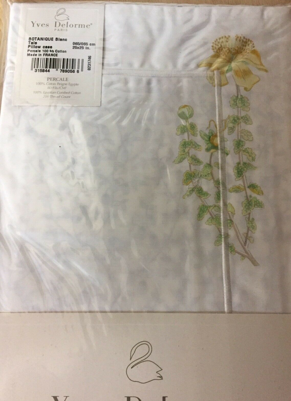 YVES DELORME BOTANIQUE Weiß FLORAL  Pair of EURO Pillowcases