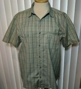 REI-QUICK-DRY-Button-Front-pocket-Plaid-Green-Hiking-Fishing-Camp-Shirt-XL