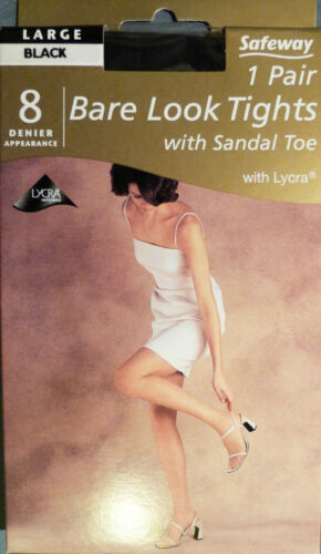 Safeway Large Size Bare Look 8 Denier Tights With Sandal Toe and Lycra