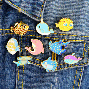 Cute-Animals-Whale-Shark-Octopus-Puffer-Fish-Hard-Enamel-Pin-Lapel-Brooches