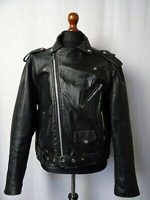 Disciplinato Men's Vintage Giacca Di Pelle Da Motociclista 48r (xxl)-mostra Il Titolo Originale Materiali Di Alta Qualità