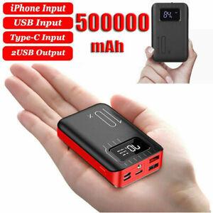 500000mAh Powerbank Tragbar Mini LCD USB Externer Batterie Ladegerät Zusatz Akku
