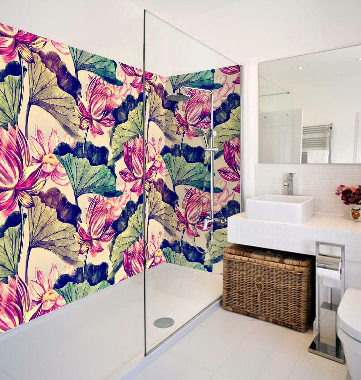 3D Lotus Leaf 7016  WallPaper Bathroom Print Decal Wall Deco AJ WALLPAPER AU