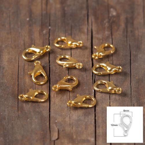10//25//50//100 Karabiner haken ketten Verschluss SILBER GOLD BRONZE  12mm 10mm
