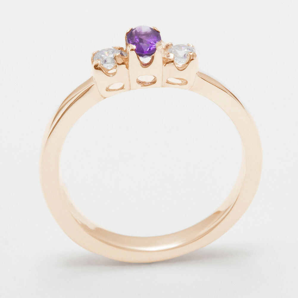 10k pink gold Natural Amethyst & Diamond Womens Trilogy Ring - Sizes 4 to 12