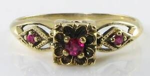 DAINTY ENGLISH 9K GOLD ART DECO INS INDIAN RUBY 3 STONE RING - <span itemprop=availableAtOrFrom>NOTTINGHAM, Nottinghamshire, United Kingdom</span> - Returns accepted Most purchases from business sellers are protected by the Consumer Contract Regulations 2013 which give you the right to cancel the purchase within 14 - NOTTINGHAM, Nottinghamshire, United Kingdom