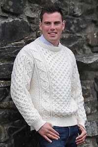 Mens Cable Irish Aran Fisherman Sweater Ireland 100/% Pure Wool Jumper Crew Neck