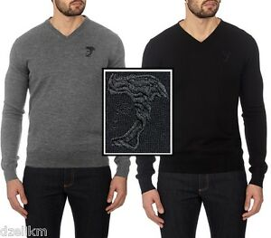 4c84fdced76 Details about NWT $250 Versace Collection By Gianni Versace Logo Virgin  Wool V-Neck Sweater