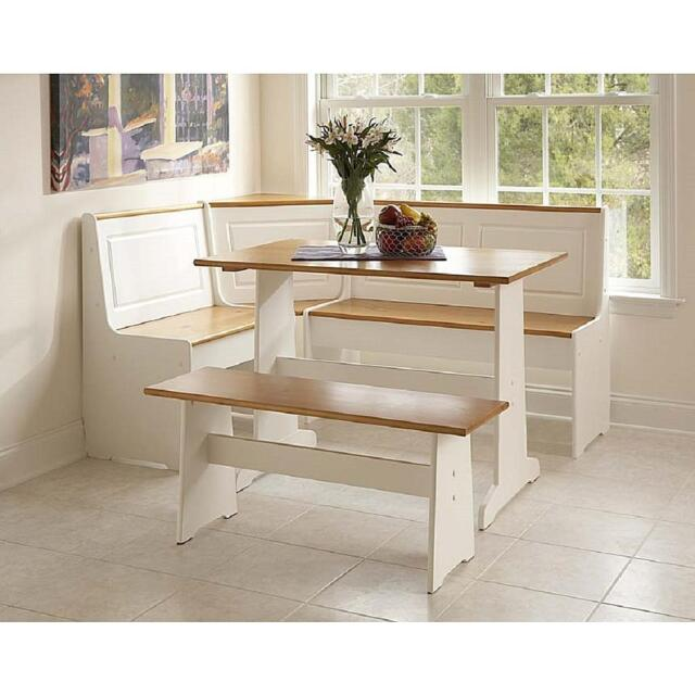 White Kitchen Nook Corner Dining Breakfast Table Bench Booth & Beige  Cushion Set