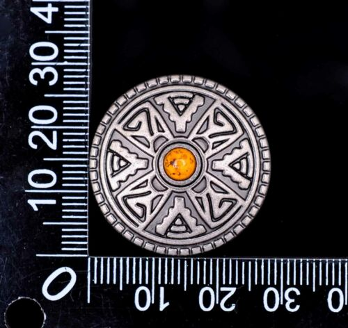"""10X 1-1//8/"""" Vintage Silver Turquoise Western DIY Leathercraft Celtic Cross Concho"""