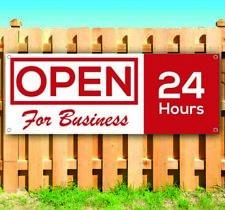 Open For Business 24 Hours Advertising Vinyl Banner Flag Sign Many Sizes Usa