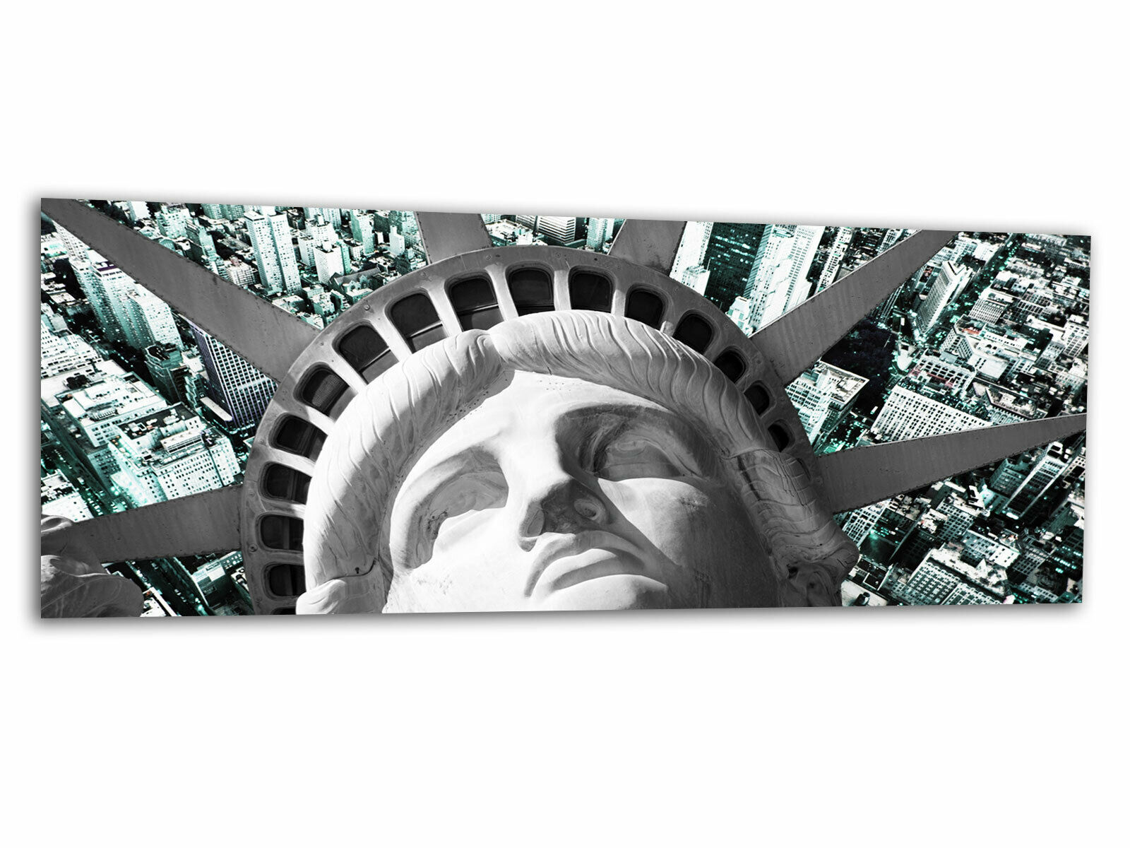 Verre-image La Fresque New York Liberty Cyan ag-01034 125 x 50 cm