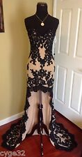BRAND NEW SHERRI HILL 21016 BLACK NUDE LACE LONG EVENING PAGEANT DRESS GOWN 4