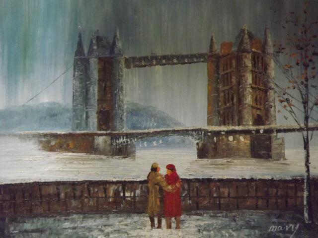 London tower bridge large oil painting canvas English British original city art