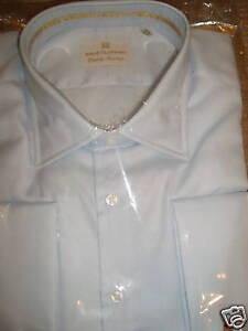 SOLID-CLOTHING-BLUE-039-JERMYN-STREET-039-2-FOLD-MINI-H-039-BONE-SHIRT-Size-19-5-034-w-links