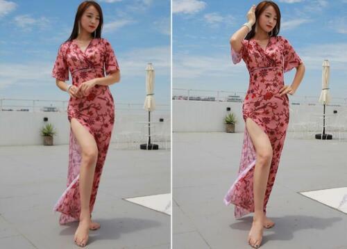 One-piece Long Skirt Dance Dress Belly Dance Costume Dancewear Flowery Pattern