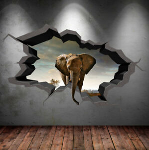 Image Is Loading Elephant Wall Decal Cracked 3d Wall Sticker Mural