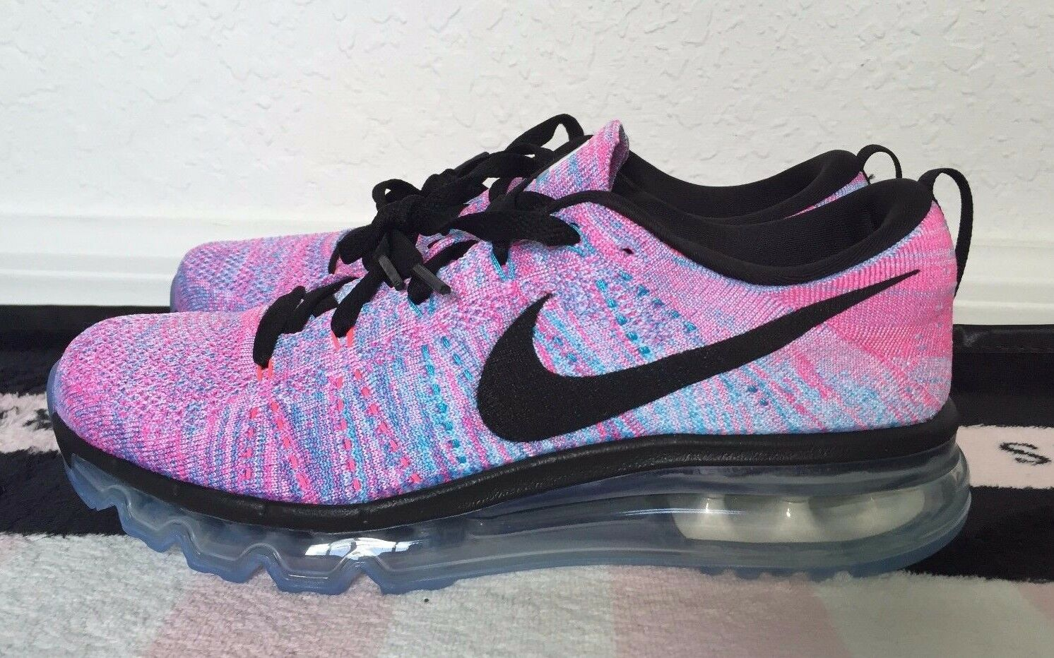 Nike Flyknit Air Max Chlorine Blue Pink Blast Black Women's Sneakers - 8.5, 11