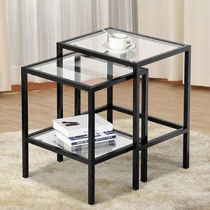Image Is Loading 2 Pcs Modern Black Metal Glass Nesting Side