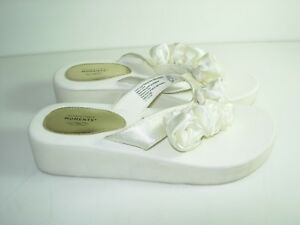 38932d75e Image is loading WOMENS-IVORY-SATIN-FLIP-FLOPS-WEDDING-BRIDAL-SANDALS-