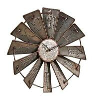 Windmill Wall Clock Metal Farm Country Decor Rustic Home Gift Western