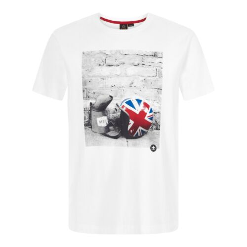 Mens Merc London Retro Mod Scooter Helmet T-Shirt Torcross White