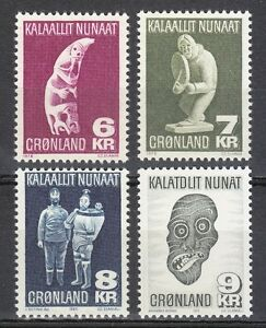 Greenland-1977-80-MNH-Sc-102-105-Magic-Art-of-eskimo-Mask-Ethnography-Eskimos