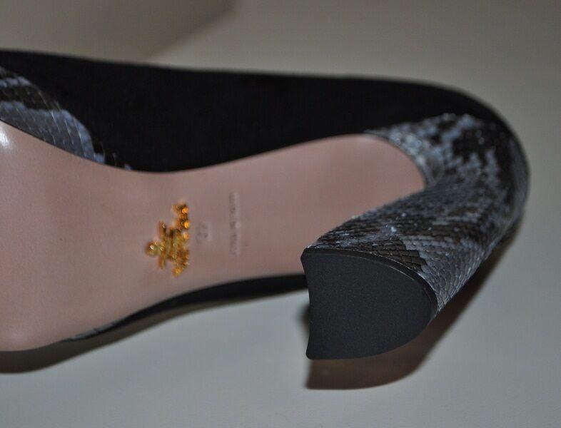 NIB    890+ PRADA Camoscio Black Suede & Python Platform Pump shoes Sz 10   40 HOT 3685d6