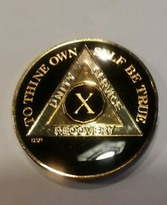 10-Year-AA-Coin-BLACK-Enamel-Gold-Silver-1-034-Traditional-Size-Recovery-X-Ten