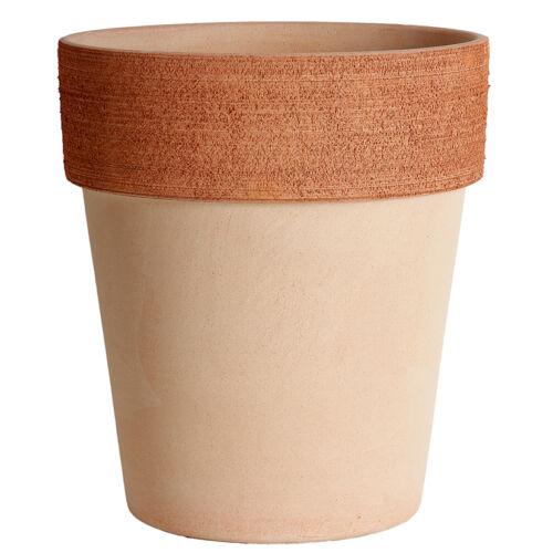 modello ALTO con bordo graffiato Vaso in terracotta sbiancato